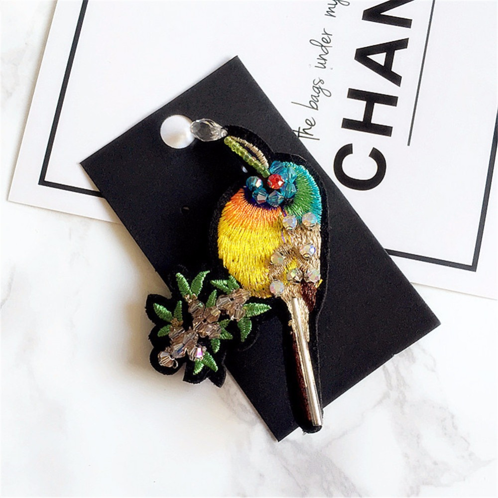Sale Season ZheFanku Handmade Embroidery butterfly bird beaded ethnic suit brooches for men fashion brooches