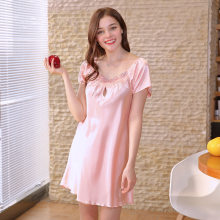 Summer Sexy Silk Nightgown Sleepshirts Women Short-sleeve Plus Size 4XL 5XL Sleepwear Lounge Satin Silky Nightwear Female Dress(China)