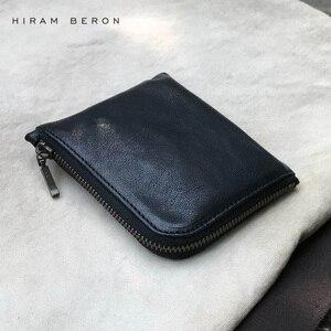 Hiram Beron, унисекс, портмоне, держатель, однотонный кожаный мини кошелек, натуральная сумка, Натуральная овечья кожа, кошелек, большая емкость, ...