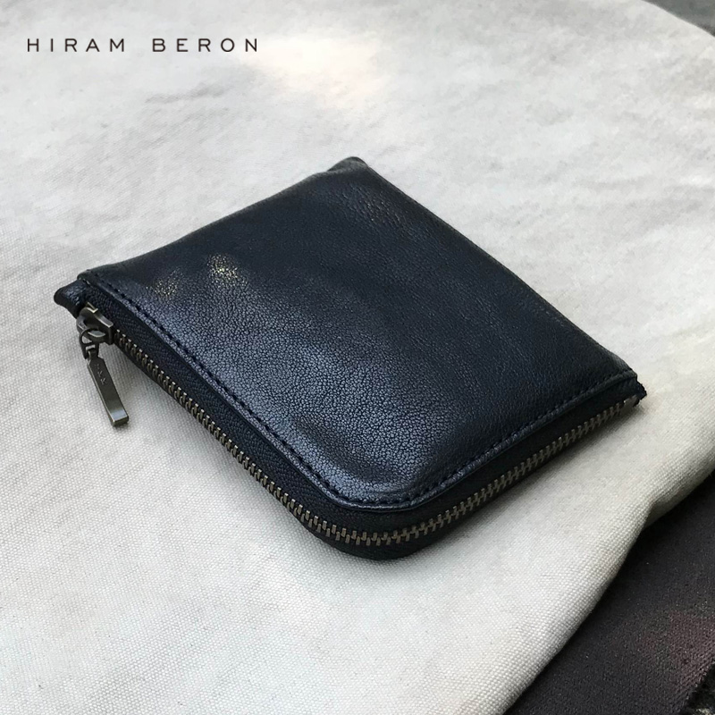 Hiram Beron Unisex Coin Purse Holder Solid Leather Mini Wallet Genuine Pouch Real Sheep Skin Purse Large Capacity Card Coin Case made in japan leather coin case purse pouch wallet 1312 navy