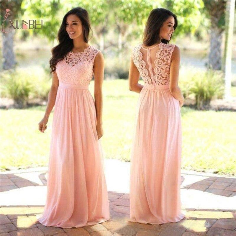Pink Chiffon Long   Prom     Dresses   2019 Sleeveless Elegant   Prom   Gown Vestido de festa Longo New
