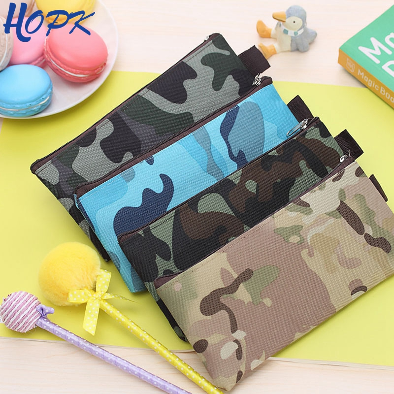HOPK Camouflage Pencil Case Pencil Bag Stationery Storage PencilCase School Supply For Kids Gift