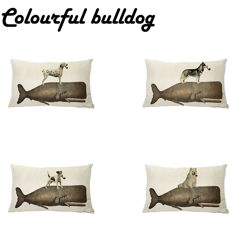 Shabby Chic Husky Cushion Covers French bulldog Samoyed Husky Printed Lumbar Pillow Cover Home Decor Siberian Husky Pugs Cojines