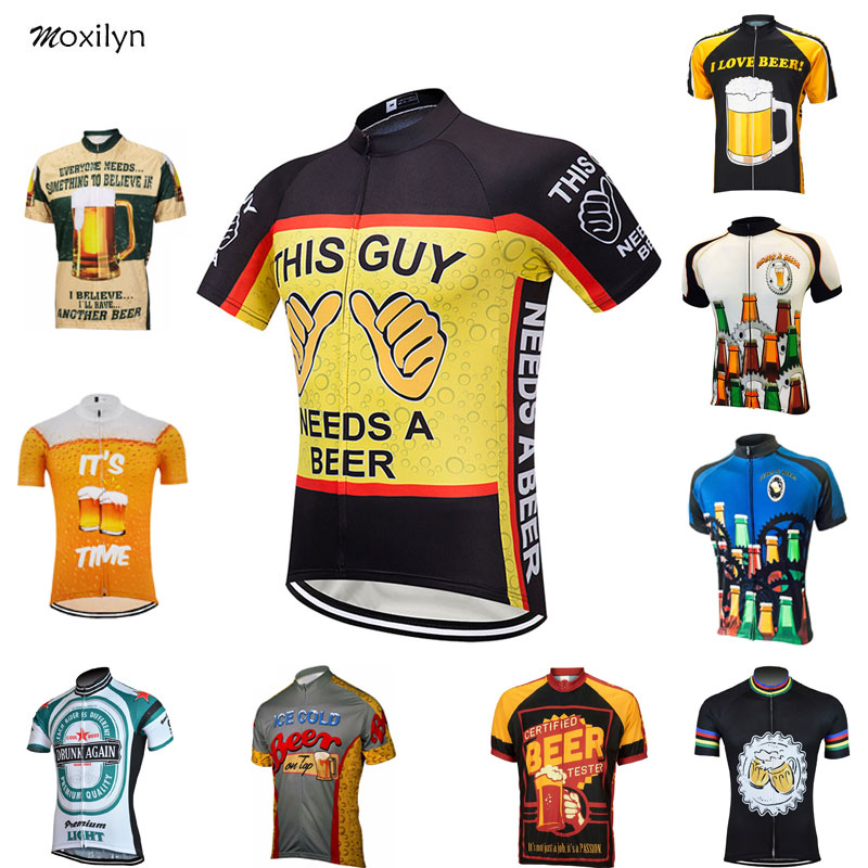 Moxilyn Mens Cycling Jerseys Top Skinsuit Cycling Clothing Mountain Bike MTB Breathable Sweat-absorbing Quick-drying I Love Beer image