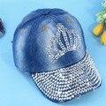 Rhinestone Bling  Beads jean Denim Sun-shading  Women's  cotton visor  Baseball  Cap   snapback hat