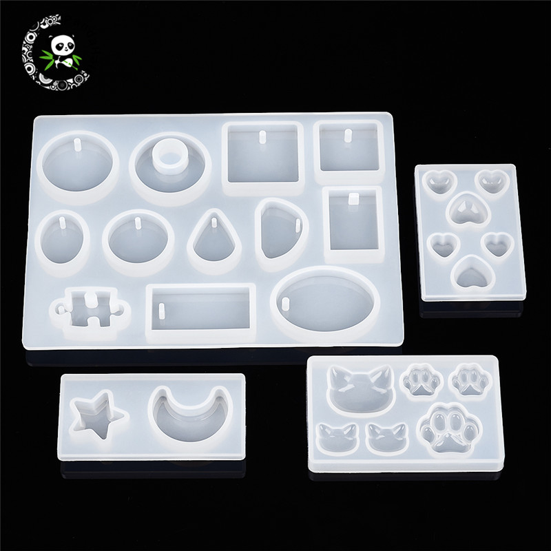 Pandahall 4pcs/Set Silicone Moulds Resin Casting Molds For DIY Jewelry Making Handmade Tool Mixed Shapes White