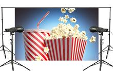 Blue Background Popcorn with Cola Backdrop Studio Props Wall 150x220cm Childrens Paradise Mural