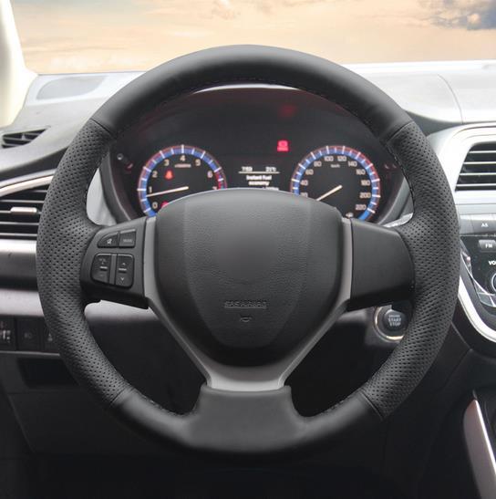 Couvre-volant de voiture en cuir artificiel noir pour Suzuki CELERIO S-CROSS SX4 2013 2014 Suzuki Vitara 2015