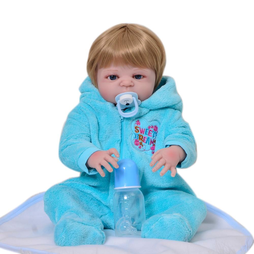 Newborn Doll 57cm Soft Silicone Reborn Dolls Baby Realistic Doll Reborn 23 Inch Full Vinyl Boneca BeBe Reborn For Boy Gifts