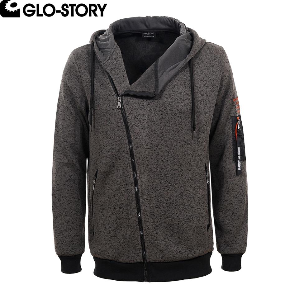 GLO-STORY Mens 2018 Spring Warm Fleece Sweat Coat Men Fashion Wrap Zipper Hoodies Sweatshirt MPU-4474