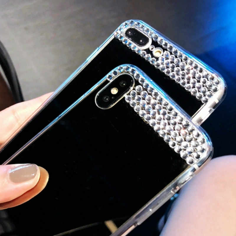 For iPhone 5 5S SE 6 6S 7 8 Plus Fashion Bling Diamond Jewelry Mirror Case Glitter Transparent Case For iPhone X XS MAX XR Cover