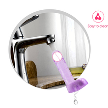 Crystal Jelly Realistic Dildos Safe Medical Silcone Artificial Penis with Suction Cup Female Body Massager Adult Toy for Women