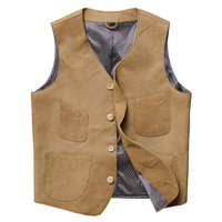 New Stylish Genuine Leather Vests Men Real Sheep Skin Motorcycle Leather Waistcoats Brown Casual Many Pockets Male Biker Gilet