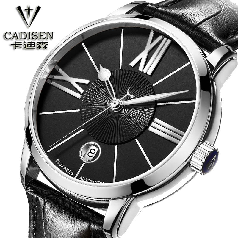 Swiss watch cadisen Men Luxury Brand watch Men mechanical Leather Strap Watches