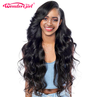 Чудо-девочка Glueless Синтетические волосы на кружеве Человеческие волосы Искусственные парики для черный Для женщин Малайзии Средства ухода ...