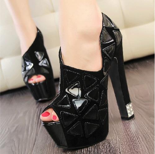 rouge blanc Talons Haute Pompes Toe Dames De Cristal Noir Sandales Femmes Peep Fond Noir Mode Partie 2014 Cône formes Plates HEw5qU4n