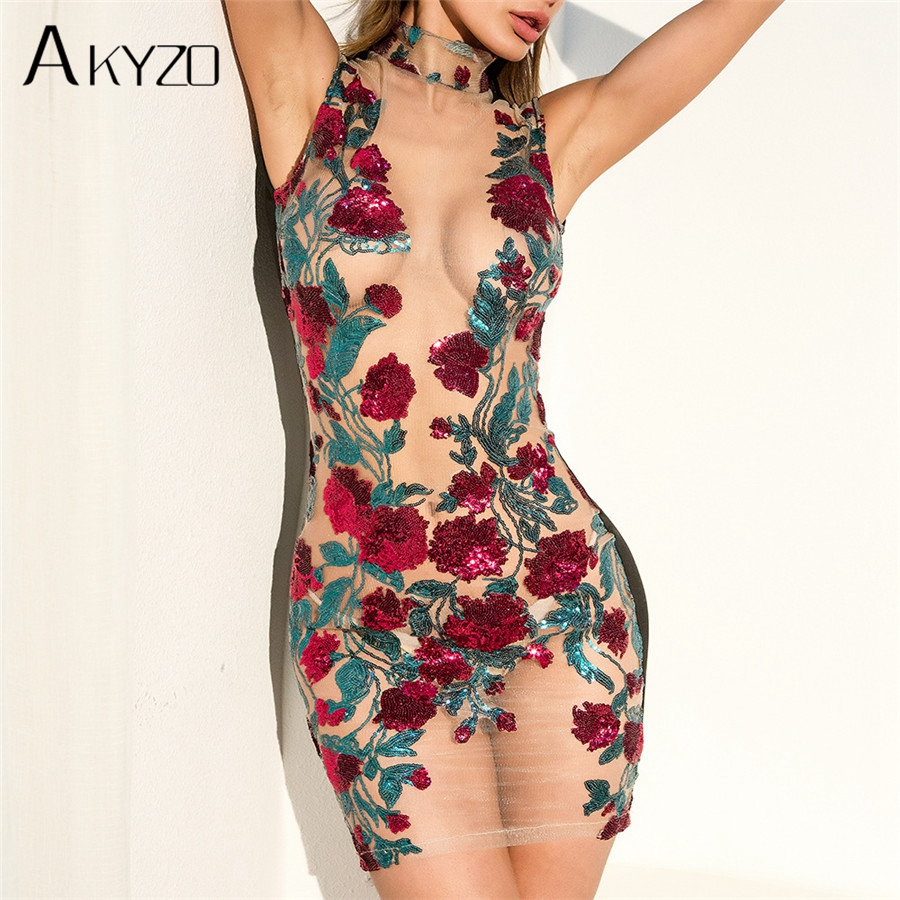 AKYZO Summer Mesh Embroidery Shirt Dress High Quality Women Sexy See Through Stand Bodycon Party Beach Mini Dresses
