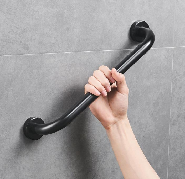 Hiqh Quality Bathroom Non Slip Grip Space Aluminum Shower Safety Grab Bar Bathroom Accessories Anti Slip Handle Bar In Black