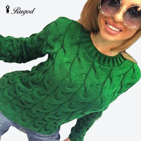 New 2016 Knitted Sweater And Pullovers Women Autumn Winter Long Sleeve O Neck Sweater Casual Knitwear