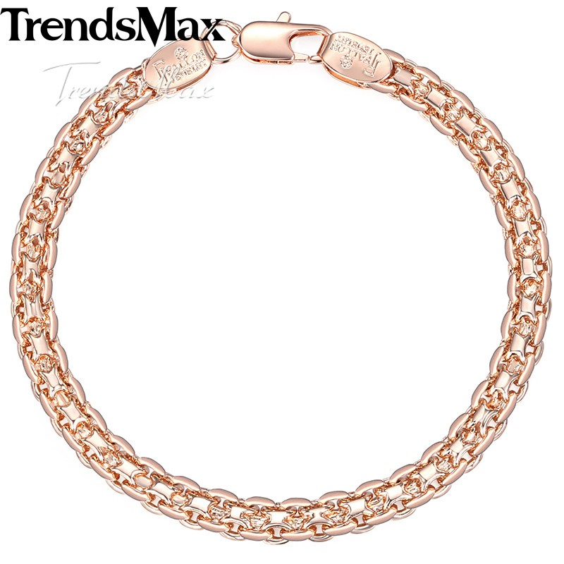 HTB1qAGqXnXYBeNkHFrdq6AiuVXakJewelry Set Necklace Bracelet ,585 Rose Gold Filled Weaving Bismark Link 5mm