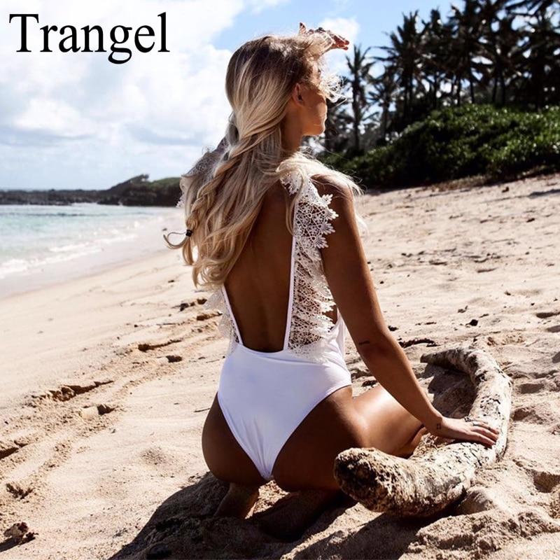 Trangel Bikini White Backless Monokini Swimwear One Piece Swimsuits Lace Swimming Suit Women High Cut Beach Wear Bathing Suits