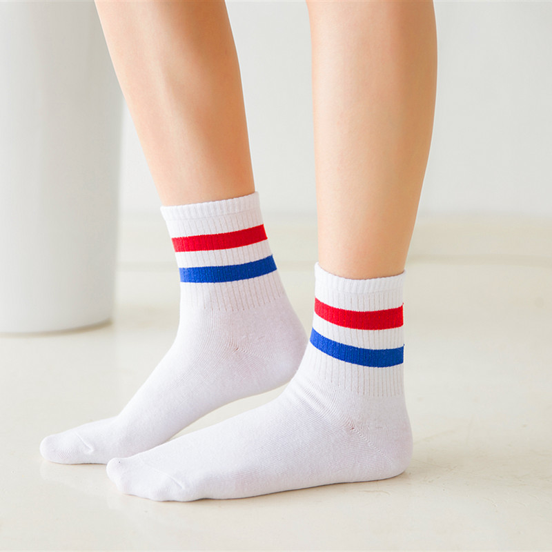 Fashion   Socks   Women Various Colors Harajuku Female Cute   Sock   Women Old School Students Female Two Stripes Style Trendy Ladies