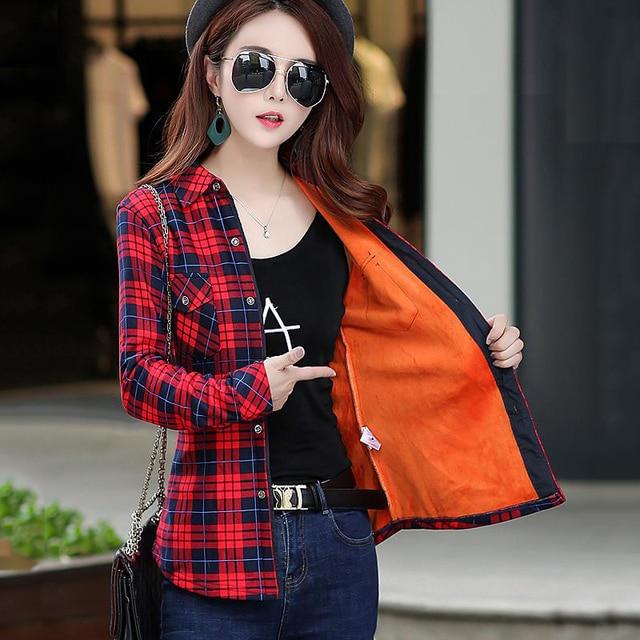 Lossky Women Winter Flannel Blouse Thick Keep Warm Velvet Cotton
