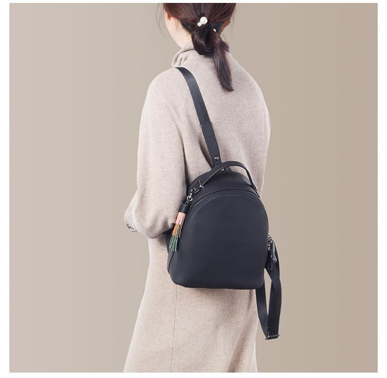 Image 4 - Backpack female 2020 new women simple soft leather cowhide mini  backpack luxury fashion small bag female tassel school  backpacksBackpacks