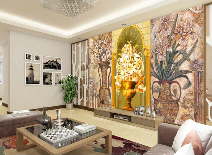 O costume 3D murais, Estilo europeu de luxo vaso antigo papel de parede, Sala de estar sofá TV parede quarto papel de parede