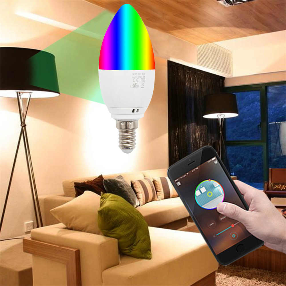 3 шт. WiFi смарт-лампа-свеча E27/E14 RGB лампы AC85-265V затемнения Поддержка Alexa/Google Home/IFTTT Управление по смартфону