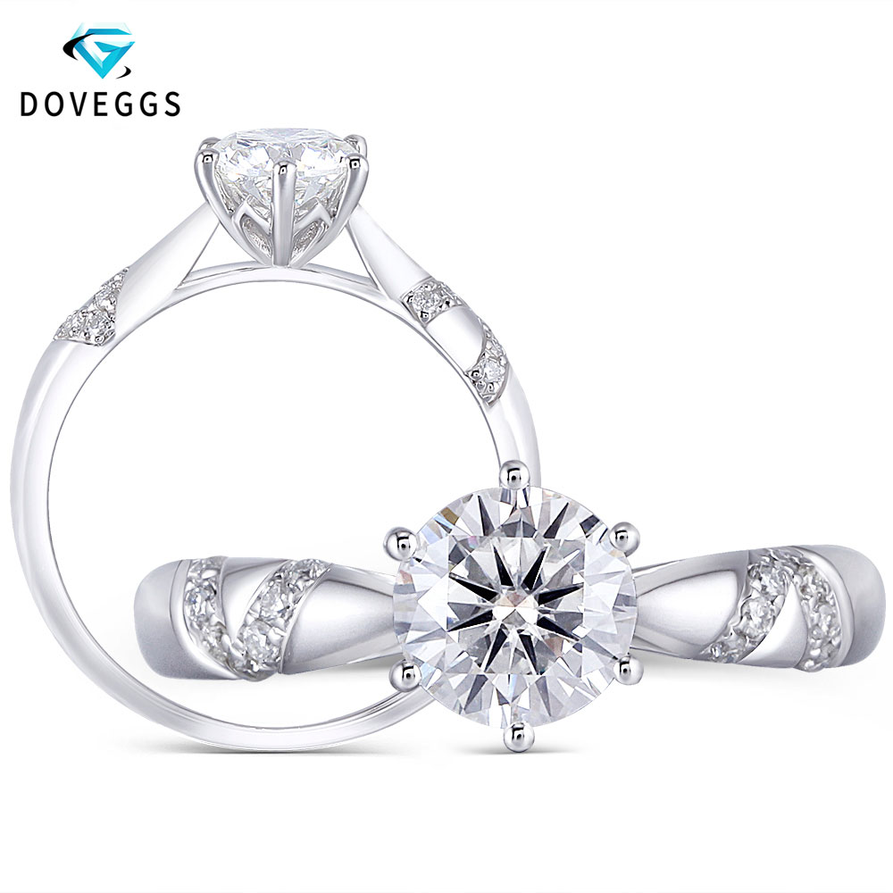 DovEggs Platinum Plated Silver 1ct 6.5mm H Color Heart and Arrows Cut Moissanite Solitaire wedding Ring with Accents for WomenDovEggs Platinum Plated Silver 1ct 6.5mm H Color Heart and Arrows Cut Moissanite Solitaire wedding Ring with Accents for Women