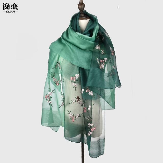 YI LIAN Marca Nova Moda Elegante Flor Bordado Mulheres Lenços de Seda de Alta Qualidade Lady Delicate Long Scarf 5 Cores SL006