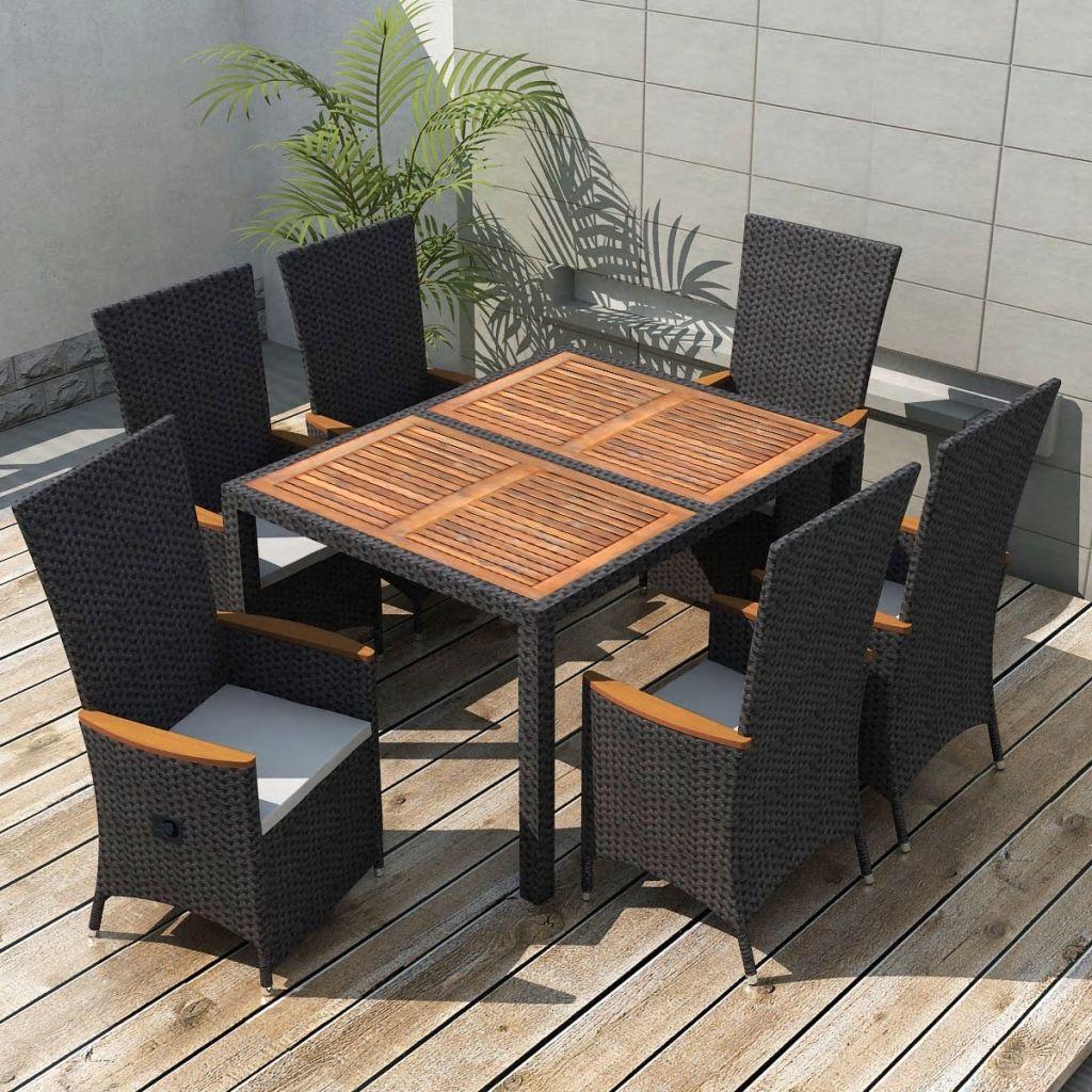 Vidaxl 13 Piece Outdoor Dining Set Black Poly Rattan Acacia Wood