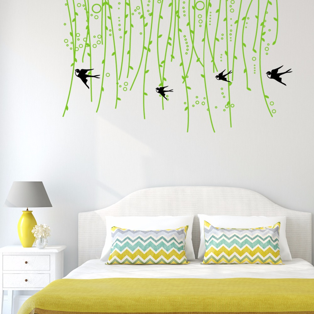 Swallows Green Tree Branches Wall Stickers Pvc Material