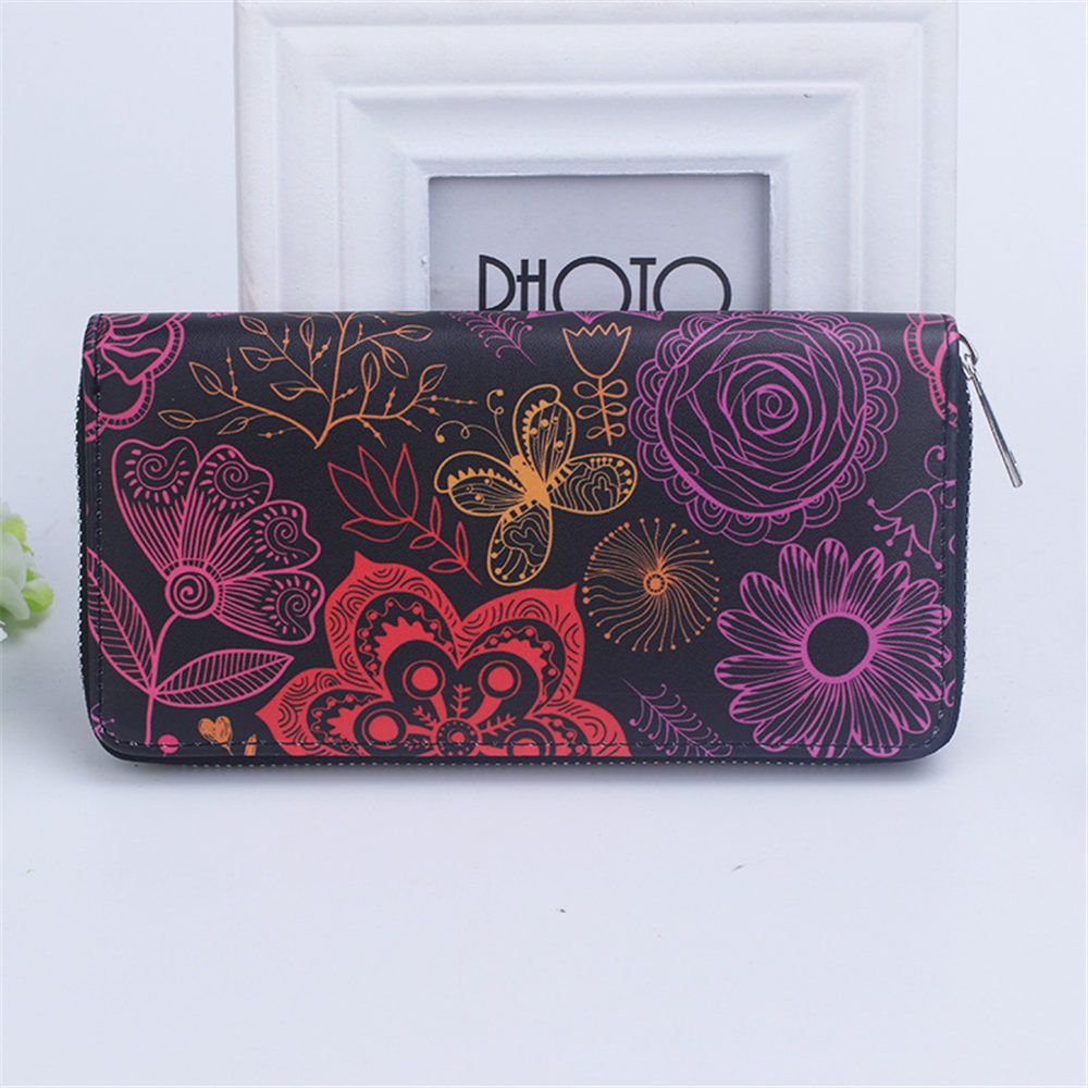 Fashion Women Wallet Flower Printing PU Leather Long Clutch Purse Lady Casual Handy Bag for Phone Money Coin free shipping new fashion brand women s long wallet purse clutches lady money clip coin phone bag 100