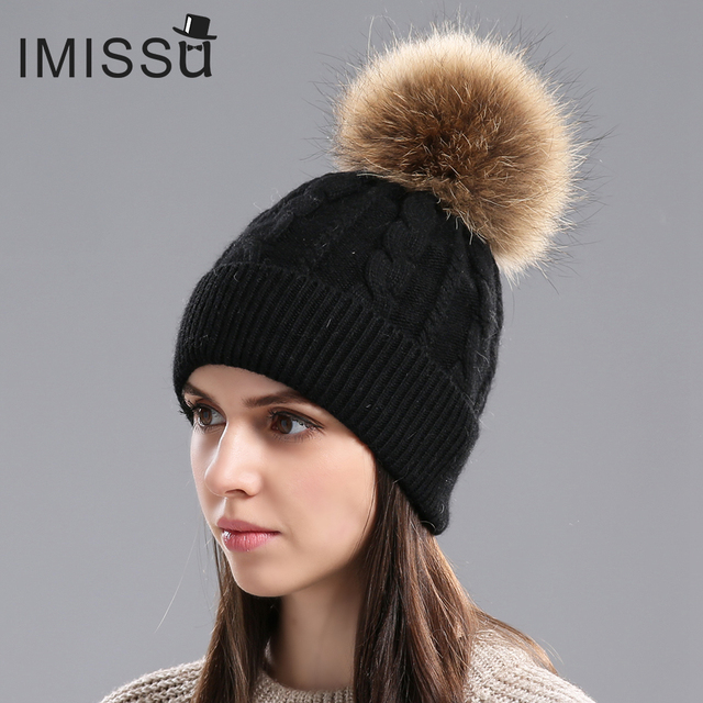 f9de58d5594 IMISSU Women Winter Hat Wool Knitted Beanies Cap Real Natural Raccoon Fur  Pompom Hats for Girls Ski Gorros Cap Female Causal Hat
