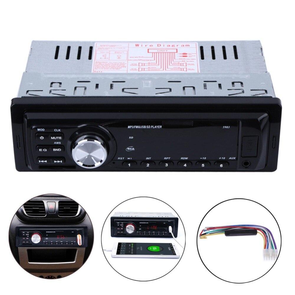 Auto Voiture Stéréo Audio FM Radio Para Carro Automobiles 1 Din au Tableau de Bord Autoradio Entrée Aux Récepteur SD Carte/USB Musique MP3 Lecteur
