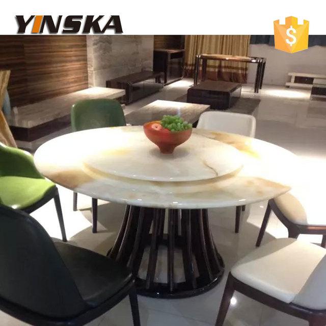 Ebony Solid Wood Base Jade Stone Round Dining Table With Lazy Susan