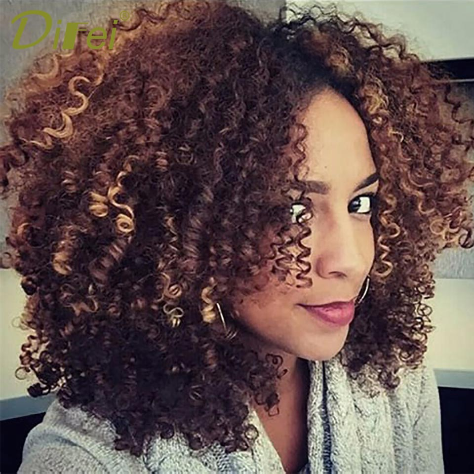 Difei Brown Synthetic Curly Wigs For Women Ombre Short