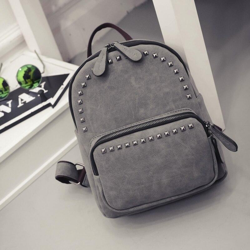 2019 mulher casual saco do vintage rebite design pequeno couro do plutônio sacos de viagem para meninas adolescentes escola mini mochila pacote preppy