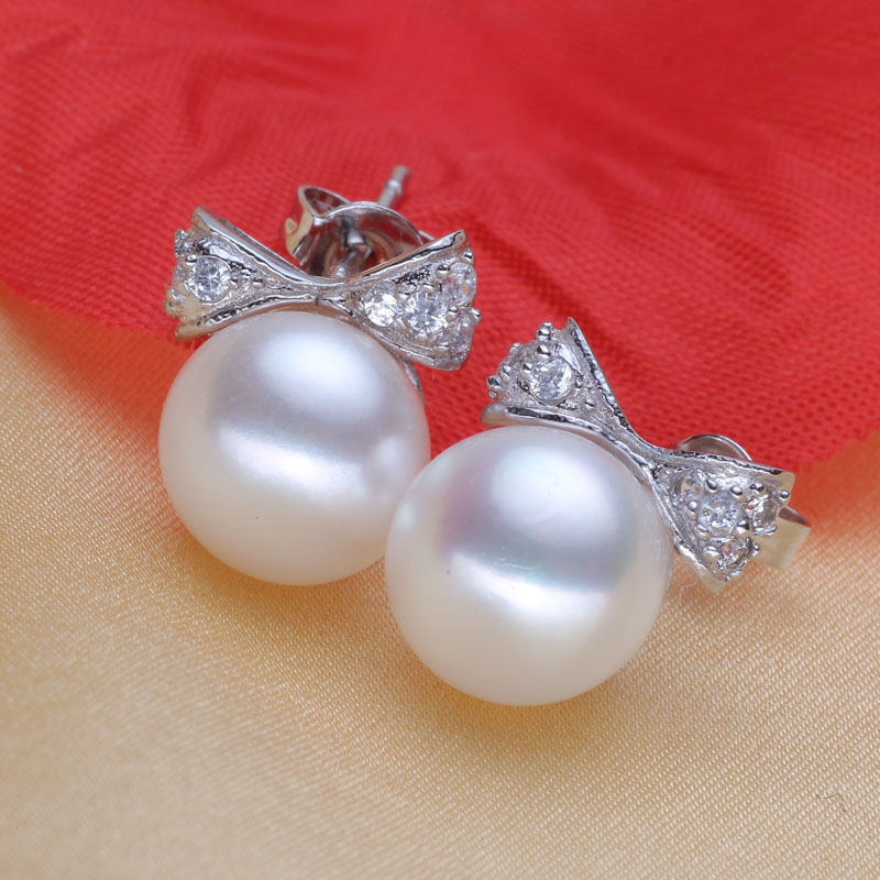 Women Gift word 925 Sterling silver real 9.5mm 10mm a bright pearl genuine natural freshwater earrings Earrings