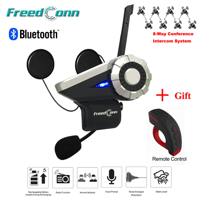 T-Rex Full Duplex 1500M Motorcycle Group Talk System BT Interphone FM Radio Bluetooth Helmet Intercom Headset+ Remote Control