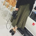 Winter Warm Women Skirts Wool Faldas Largas Knitted High Waist Vintage Pencil Saias Maxi American Apparel Skirt MF986574