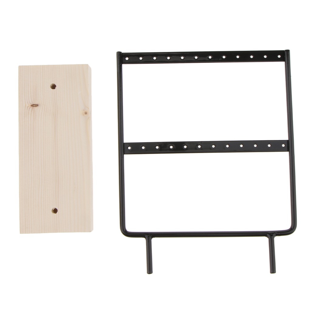 24/44 Holes Earrings Necklaces Metal Organizer Holder Wooden Jewelry Display Stand