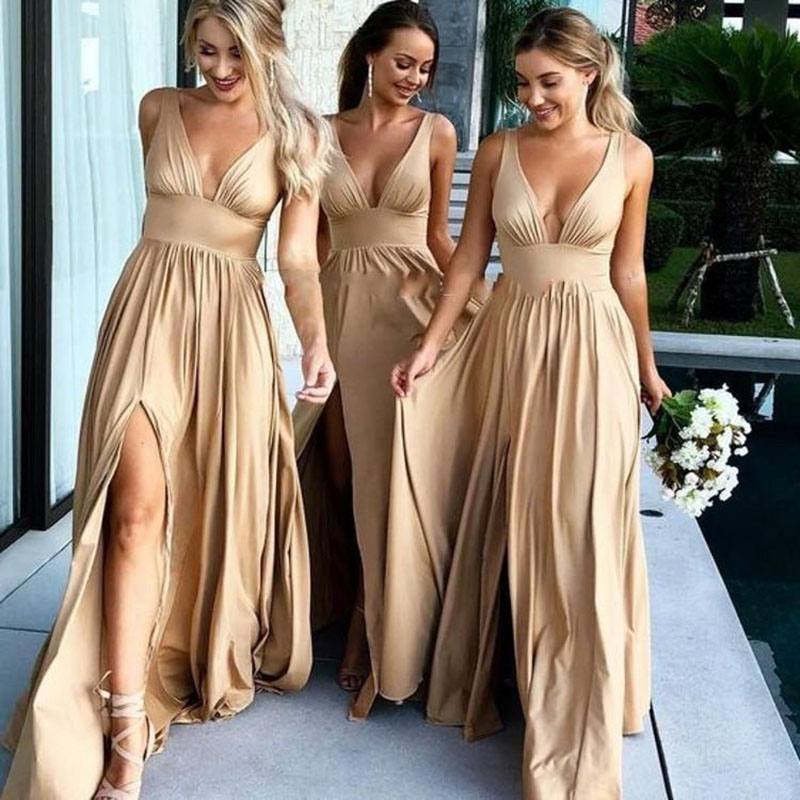 2018 Sexy Champagne Long   Bridesmaid     Dresses   V Neck Empire HIgh Split Side Elastic Silk Beach Boho   Bridesmaid   Gowns Maid of Honor