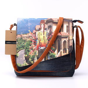 Image 3 - Annmouler Vintage Shoulder Bag Womens Fashion Demin Crossbody Bag Eiffel Tower Print Messenger Bag for Ladies Casual Tote Bags