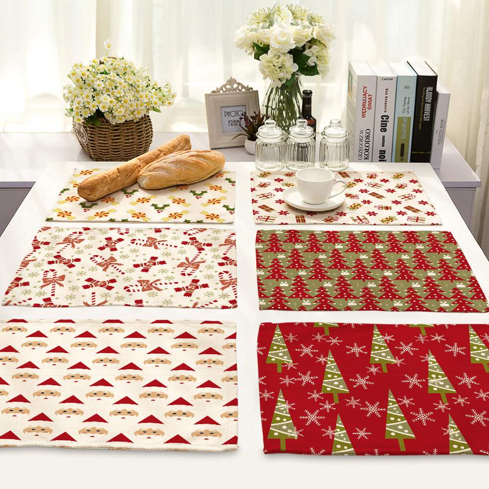 CAMMITEVER Red Christmas Tree Dining Table Mat Pads Bowl Pad Coasters Cloth Placemat