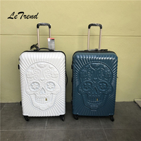 Letrend Britain 3D Skull Rolling Luggage Spinner Women Trolley 100% PC Fall resistance Suitcases Wheel Travel Bag Trunk
