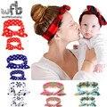 Varejo cabeça Impresso mãe e filho conjunto orelhas de coelho acessórios de cabelo da moda infantil bebê Crianças crianças
