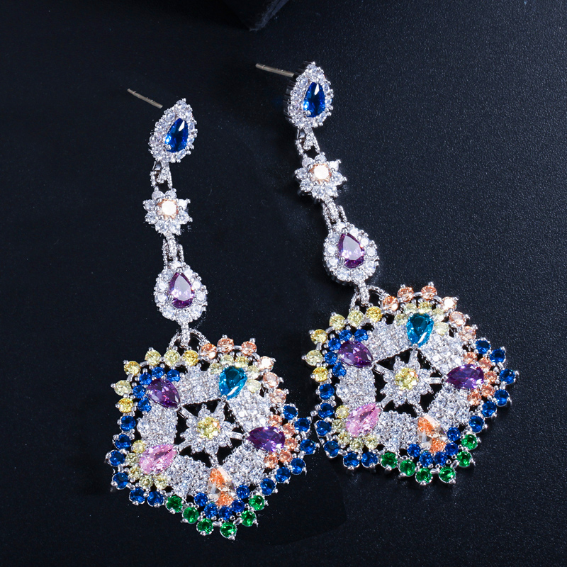 Flower Long Tassel Style Multicolor Zircon Crystal 925 Sterling Silver Tassels Bride Dangle Earring For Women M02 E0085